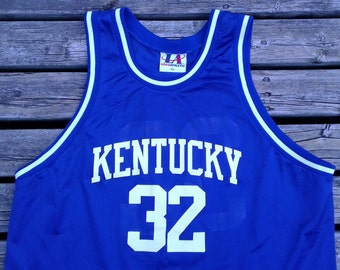 Vintage Kentucky Wildcats #32 Blue Basketball Jersey Made in USA by Logo Athletic XL