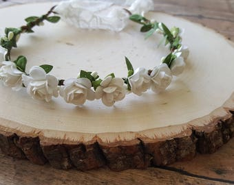 Baby Crown, Newborn Flower Crown Headband, Flower Crown, Newborn Crown, Newborn Photo Prop, White Paper Flowers, Tieback Headband