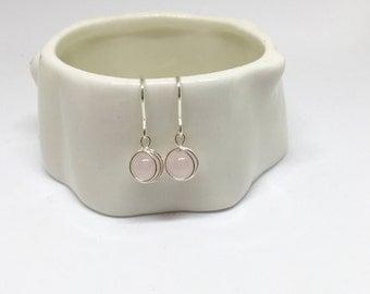 Rose quartz earrings, 925 sterling silver rose quartz earrings, silver quartz earrings, pink stone earrings, rose quartz jewellery