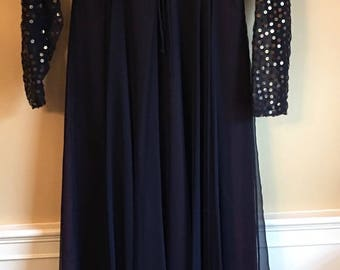 Vintage Rose Taft navy blue chiffon  evening gown with silver sequined bodice and sleeves by Rose Taft Couture