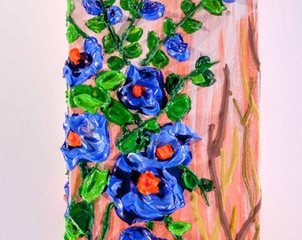 Acrylic 3D Painting - Blue Flowers and Bee - Gallery Edge Canvas can be Freestanding or Wall Mounted