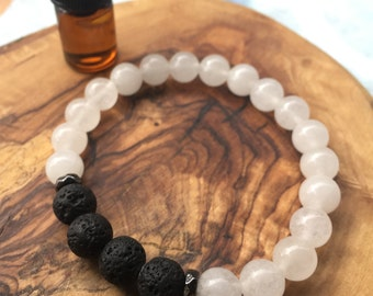 SNOW QUARTZ essential oil bracelet: wisdom, clarity, soothing, purity, calming, innocence