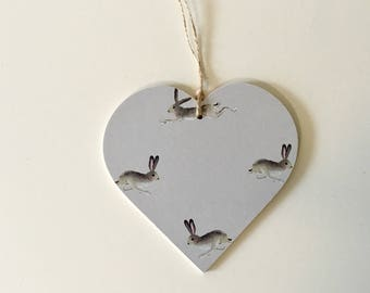 10cm Hare Print~ Decoupaged Hanging Heart ~ Countryside Country Kitchen Home Decor Birthday Mother's Day gift