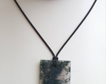 Moss Agate Pendant Necklace, Free Shipping (E17059), Moss Agate Necklace