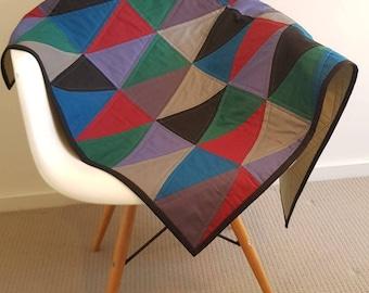 Modern Baby Quilt. Geometric Quilt. Cot, Pram Baby Blanket