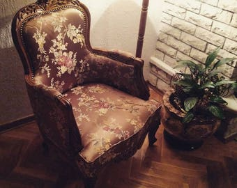 Handmade Artwork Armchair Inspired by Louis XV Antique Style