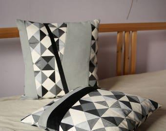 Geometric jacquard fabric cushion