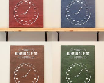 Humeur du p'tit - vinyl on varnished wood (choose from 2 sizes and a range of colours) - wall decor