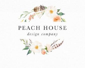 Floral Wreath Logo, Custom Logo, Logo Design Floral, Feather Logo, Rustic Logo Design, Shop Logo, Small Business, Boho Logo, Circle Logo