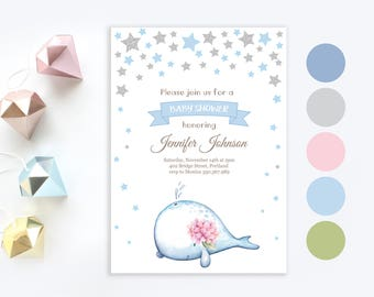 Blue Whale Baby Shower Invitation | Twinkle twinkle little star invite | Baby boy shower invitation | Blue and Silver Stars Printable Invite