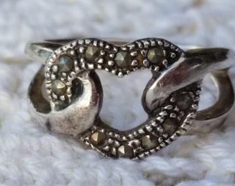 Vintage Premier Design Marcasite Sterling Silver Ring Size 5, Signed