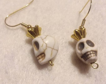 White/Pink Crowned Skull Hook Earrings (Please select color when ordering)