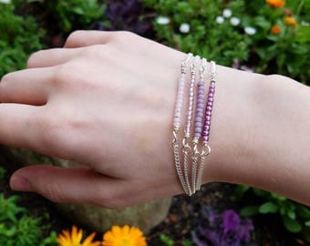 Purple Multi-Chain Bracelet with Glass Beads