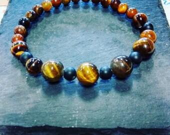 Tiger eye and matte onyx bracelet