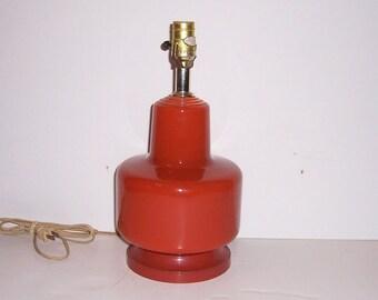 Mid Century 1960s Lamp burnt Orange-Glass
