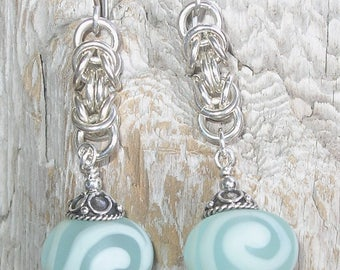Handmade Glass Lampwork Etched Bead and Sterling Silver Earrings - Pale Aqua