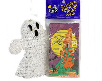 vintage halloween decorations trick or treat bags nos 40 paper sacks candy loot bags - Etsy Halloween Decorations