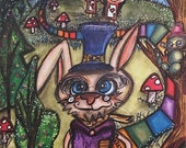 The White Rabbit Print Alice in Wonderland We're Late For A Very Important Date! Quote Saying Candy Land Inspired Time Watch Clock Mushrooms