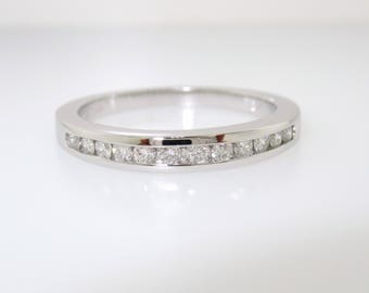 0.25 Carat Diamond Wedding Band, Half Eternity Ring, Anniversary Ring, Stackable Ring 14k White Gold Canal Set Handmade