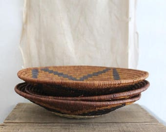 Vintage African Coil Woven Basket Rust Teal Navy Brown