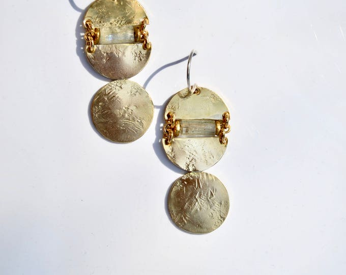 Featured listing image: M o r n i n g  Golden Abstract Sphere Earrings
