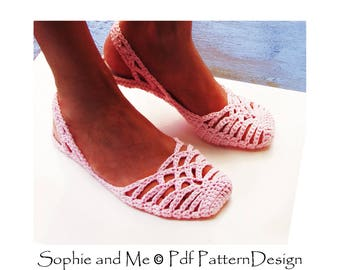 Lacey Sling-Back Slippers - Crochet Pattern - Instant Download Pdf