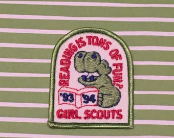 1990s Girl Scout Patch - Reading Is Tons Of Fun Hippo