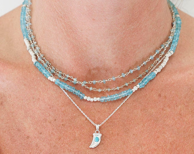 Topaz beads and silver Choker