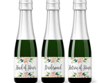 Bridesmaid Mini Champagne Labels.  Bridesmaid Proposal Box, Will You Be My Maid of Honor , Mini Wine Labels, Bridal Party Gift Idea