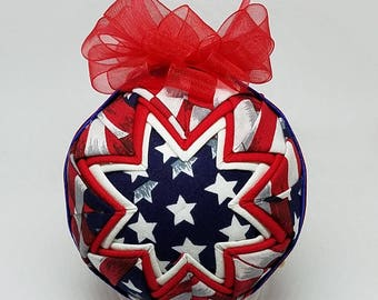 Quilted Fabric Keepsake Ornament 4th of July Hooray For The Red White & Blue II