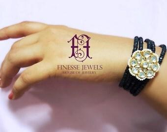 Sapphire Blue Beaded Bracelet, Kundan Bracelet, Indian Bangles, Kundan Jewelry, Indian Jewelry, Indian Bridal jewelry
