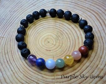 7 Chakra Natural Gemstone & Lava Stone (Oil Diffuse) Meditation Bracelet 8mm- Charm Option- Reiki Infused Healing Spiritual Energy, Rainbow