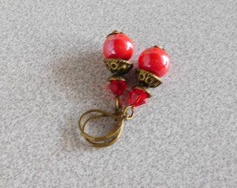 Pearl Earrings Victorian style ceramic porcelain Red 10 mm