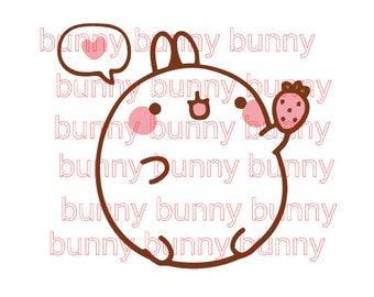 Cute Baby Bunny Molang With Strawberry design file svg studio3 pdf jpeg cut file print and cut anime manga animal cartoon valentines day