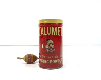 Vintage Calumet Baking Powder Tin / Rustic Decor