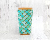 Cup Cozy, Iced Coffee Cozy, Cup Sleeve, Mermaid Coffee Cozy, Coffee Cuff, Aqua Mint Cozy