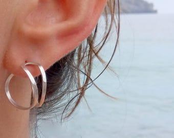 Double hoop earrings, medium size hammered hoop earrings, sterling silver modern hoops,unusual hoop earrings, statement hoops,Valentine gift