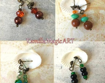 Style Gypsy glass boho bronze stud Brown orange black green stud drop earring Boho Gypsy tiny glass jewelry hippy sister Christmas gift stud