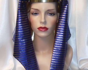 Blue Pharaoh Headpiece, King Tut Headdress, Egyptian Inspired Pharaoh Nemes, King Tut Crown, Cleopatra Headdress