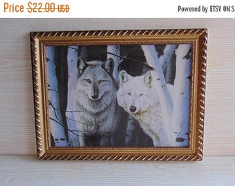 20% SALE Vintage Picture with Wolves, Wolf Print, Wolf Picture, Animal Dog Print, Wolf Wall Art , Wolf Home Decor , Wolves , Animal Lovers