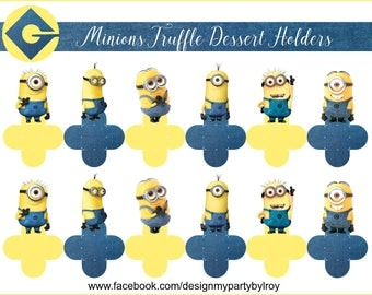 MINIONS CANDY HOLDERS, Minions Party Supplies, Minions Paper Supplies, Minions Party Favors, Minions Party Decor, Minions Truffle Holders.