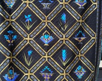 Flower baskets king size quilt