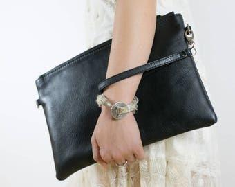 Black leather clutch, zipper clutch bag, iPad mini case