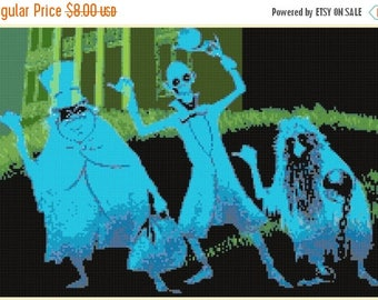 On SALE Hitchhiking Ghosts - 220 x 147 stitches - Cross Stitch Pattern Pdf - INSTANT Download - B1307