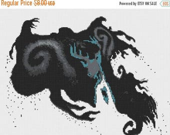 The Stag Cross Stitch Pattern Dementor Cross Stitch Pattern stag pattern - 220 x 165 stitches - Instant Download - B1043