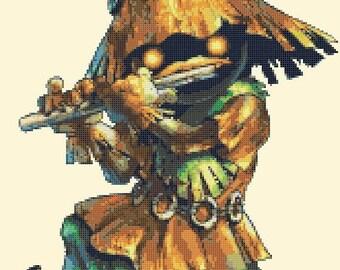 Skull kid Cross Stitch Pattern Pdf Skull kid pattern skull cross stitch - 194 x 155 stitches - INSTANT Download - B840