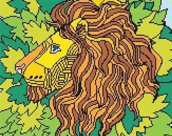 Lion cross stitch pattern cross stitch stained glass - 163 x 163 stitches - punto de cruz korss - INSTANT Download - B1051