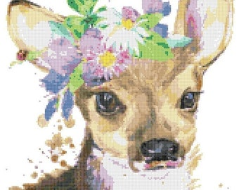 fawn deer Cross Stitch Pattern Watercolor pattern needlepoint needlecraft -159 x 197 stitches- INSTANT Download - B1503