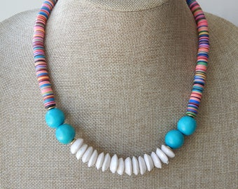 Colorful african vinyl beads with white glass beads and turquoise wood, statement necklace, glass and wood, festival chic, boho necklace