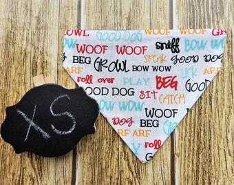 Reversible Words XS Dog Bandana. Words dog bandana. Reversible dog bandana. XS dog bandana. Tiny dog bandana. Small dog bandana. Red dog.